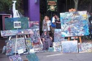 The art at LAAFF, as seen at a previous festival, isn't dominated by paintings of fall colors and the Flat Iron Building.
